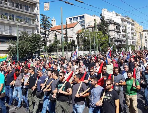 Masová demonštrácia pred  americkým veľvyslanectvom proti zmluve o rozšírení vojenských základní NATO